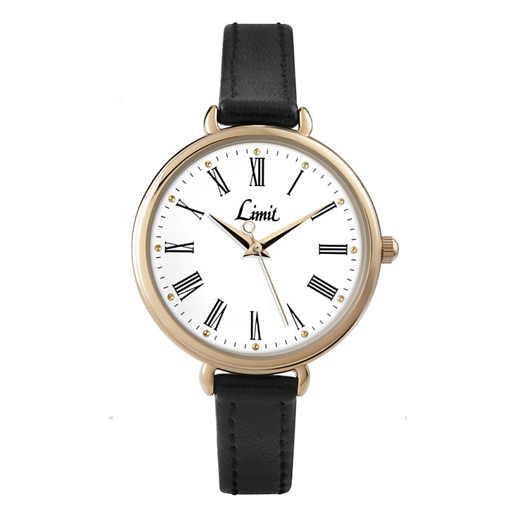 Limit Ladies' Gold Tone Black PU Strap Watch - Product number 1412310