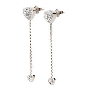 Folli Follie Heart4Heart silver-plated crystal drop earrings - Product number 1413651