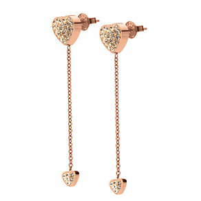 Folli Follie Heart4Heart rose gold-plated drop earrings - Product number 1413678