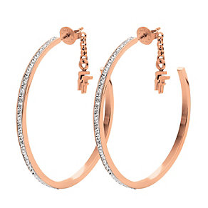 Folli Follie Dazzle rose gold-plated crystal hoop earrings - Product number 1413740