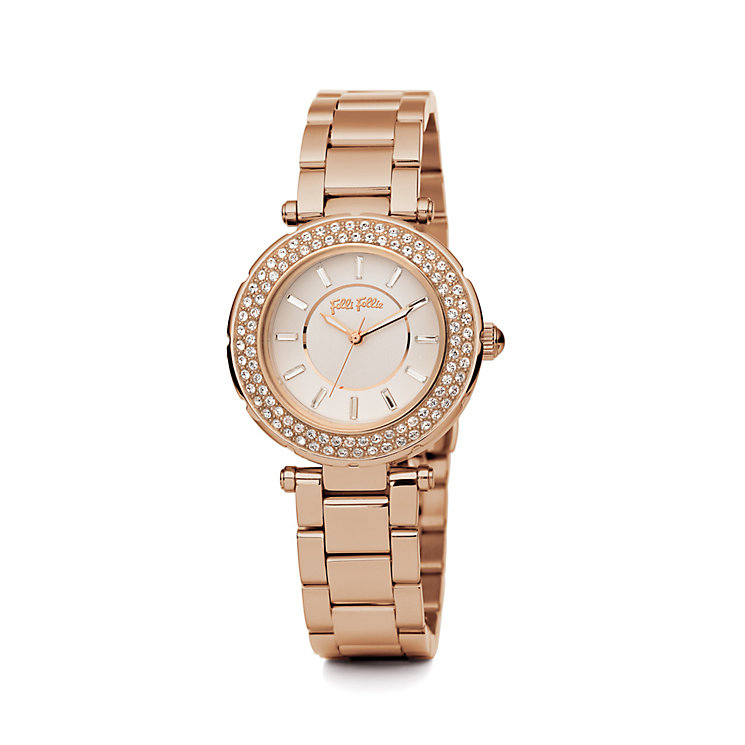 Folli Follie Beautime ladies' rose gold-plated strap watch - Product number 1413775