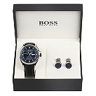 Hugo Boss men's black leather strap watch & cufflinks set - Product number 1413791