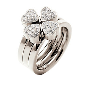 Folli Follie Heart4Heart silver-plated crystal ring L 1/2 - Product number 1414003