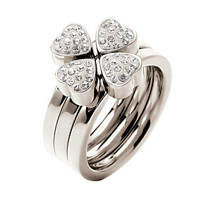 Folli Follie Heart4Heart silver-plated crystal ring N - Product number 1414038