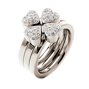 Folli Follie Heart4Heart silver-plated crystal ring O 1/2 - Product number 1414046
