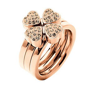 Folli Follie Heart4Heart rose gold-plated crystal ring L 1/2 - Product number 1414062