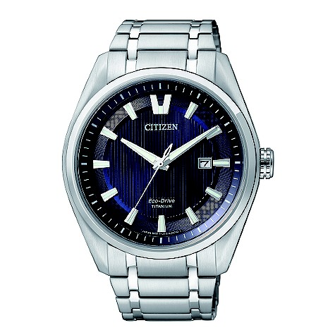 Citizen EcoDrive men&39s blue dial titanium bracelet watch
