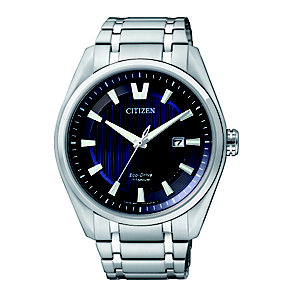 Citizen Eco-Drive men's blue dial titanium bracelet watch - Product number 1416715