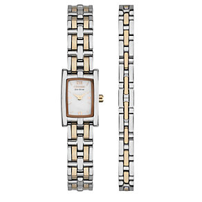 Citizen Eco-Drive ladies' two colour watch & bracelet set - Product number 1416804