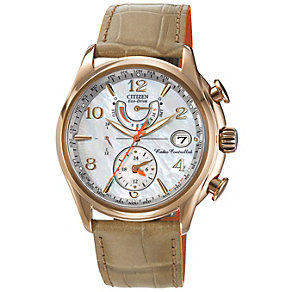 Citizen Eco-Drive ladies' gold-plated leather strap watch - Product number 1416898