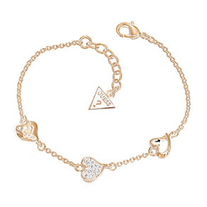Guess Rose Gold-Plated Triple Heart Station Bracelet - Product number 1417290