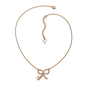 Guess Rose Gold-Plated 'Tied With A Kiss' Bow Pendant - Product number 1417630