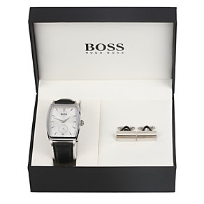 Hugo Boss men's black leather strap watch & cufflinks set - Product number 1425471