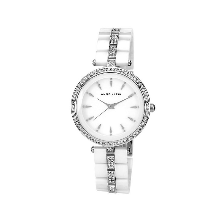 Anne Klein Ladies' Stone Set White Ceramic Bracelet Watch - Product number 1425676
