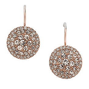 Fossil Vintage Glitz Rose Gold-Plated Crystal Drop Earrings - Product number 1426559