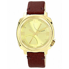 Vince Camuto Ladies' Gold Tone Brown Leather Strap Watch - Product number 1426958