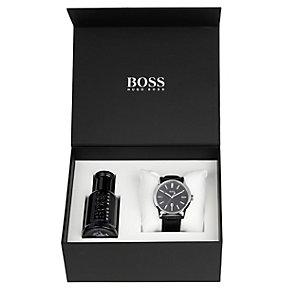 Hugo Boss men's black leather strap watch & fragrance set - Product number 1427334