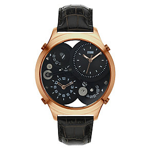 Storm Men's Black Dial Black Leather Strap Watch - Product number 1427431