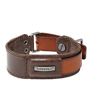 Fossil Men's Stainless Steel Detail Brown Leather Cuff - Product number 1429825