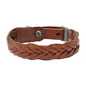 Fossil Casual Men's Brown Leather Braided Bracelet - Product number 1429833