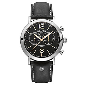 Roamer Vanguard men's stainless steel black strap watch - Product number 1430386