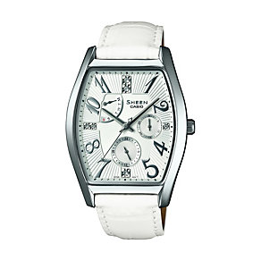 Casio Sheen Ladies' White Leather Strap Watch - Product number 1430416