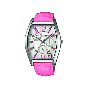 Casio Sheen Ladies' Pink Leather Strap Watch - Product number 1430424