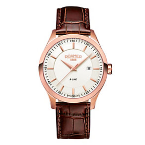 Roamer R-Line men's rose gold-plated brown strap watch - Product number 1430459