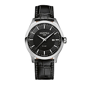 Roamer R-Line men's stainless steel black strap watch - Product number 1430467
