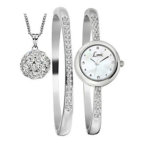 Limit Ladies' Stone Set Watch, Bangle & Pendant Set - Product number 1430645