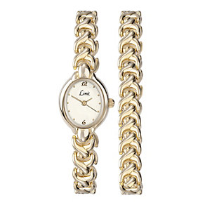 Limit Ladies' Gold-Plated Oval Watch & Bracelet Set - Product number 1430696