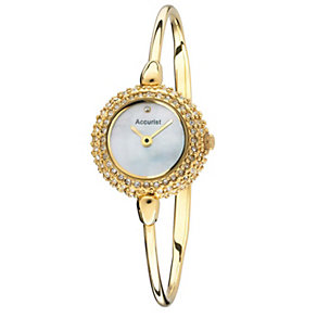 Accurist Ladies' Stone Set Gold Tone Bangle Watch - Product number 1433776