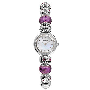 Accurist Charmed Ladies' Purple Bead Bracelet Watch - Product number 1433784
