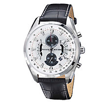 Accurist Men's Stainless Steel Black Leather Strap Watch - Product number 1433857
