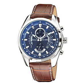 Accurist Men's Stainless Steel Brown Leather Strap Watch - Product number 1433865