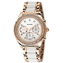 Accurist Ladies' Rose Gold Tone & White Bracelet Watch - Product number 1433954