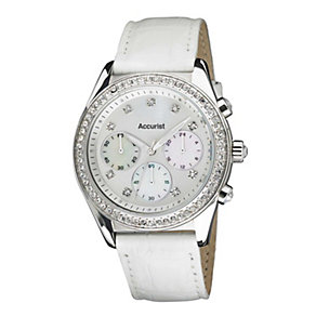 Accurist Ladies' Stainless Steel White Leather Strap Watch - Product number 1433962