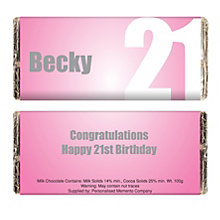 Personalised Pink Numbers Chocolate Bar - Product number 1433970