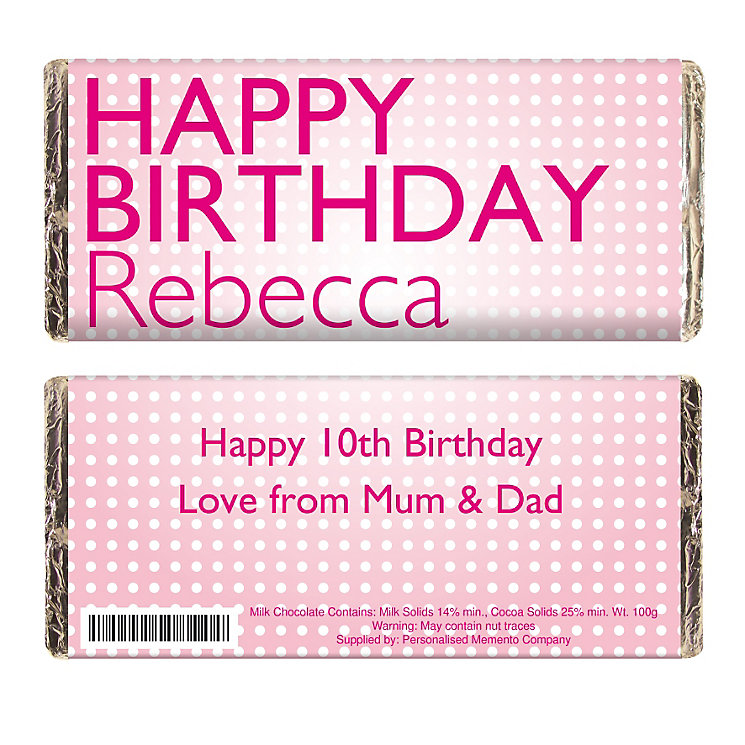 Personalised Pink Birthday Chocolate Bar - Product number 1433989