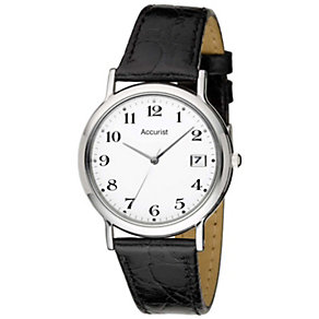 Accurist Men's Stainless Steel Black Leather Strap Watch - Product number 1434306