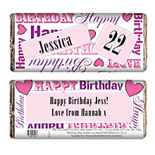 Personalised Pink Happy Birthday Chocolate Bar - Product number 1434357