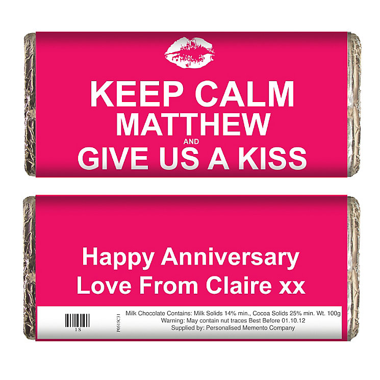 Personalised Keep Calm Give Us A Kiss Chocolate Bar - Product number 1434373