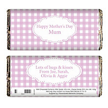 Personalised Pink Gingham Chocolate Bar - Product number 1434438