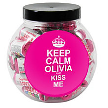 Personalised Keep Calm Round Pink Sweet Jar - Product number 1434527