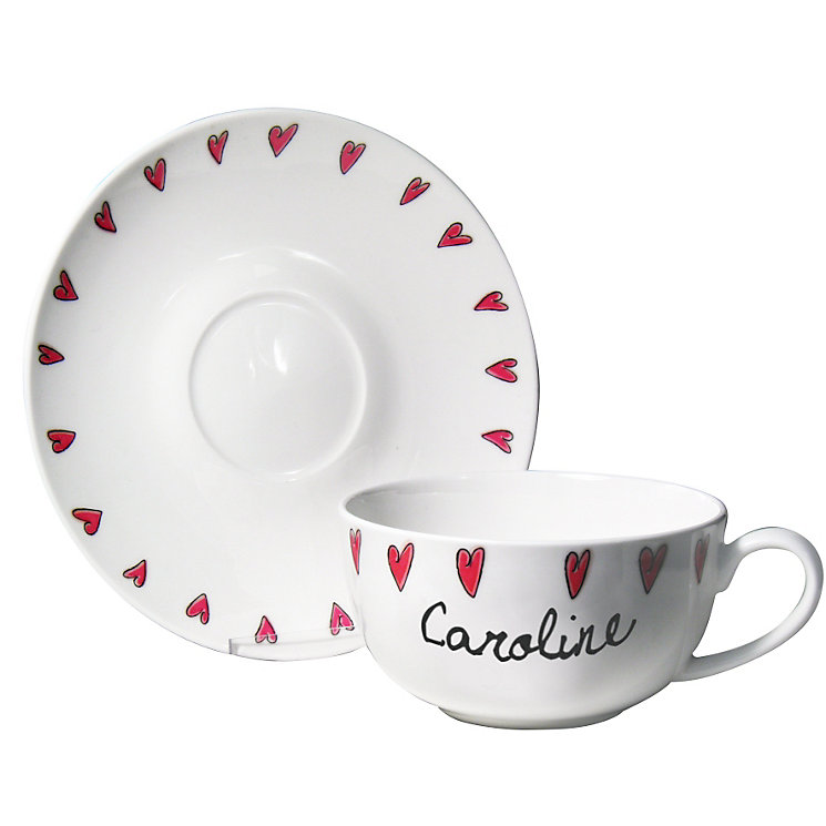 Personalised Hearts Design Tea Cup and Saucer - Product number 1435256