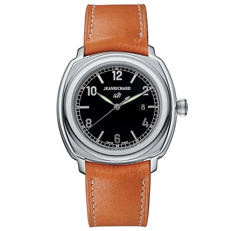 JEANRICHARD Terrascope men's tan leather strap watch - Product number 1437909