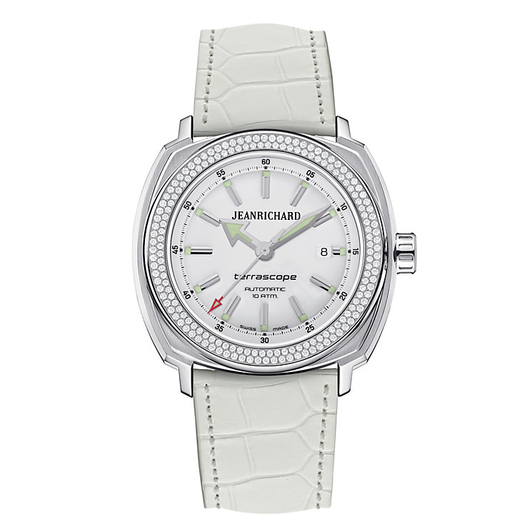 JEANRICHARD Terrascope ladies' white leather strap watch - Product number 1437941