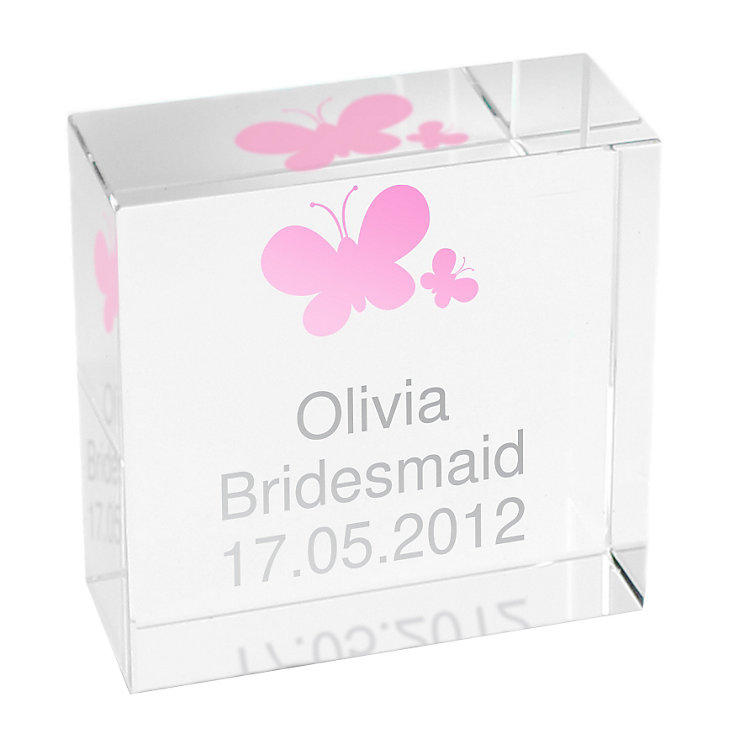 Personalised Pink Butterflies Crystal Token - Product number 1438085