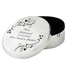 Personalised Black Ornate Swirl Round Trinket Box - Product number 1438395