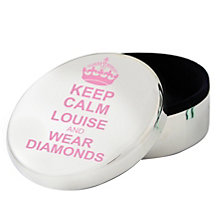 Personalised Keep Calm Round Trinket Box - Product number 1438441